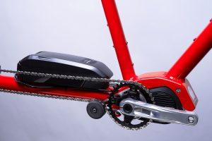 Closeup of Shimano Steps electric assist motor Tandem Bicycle