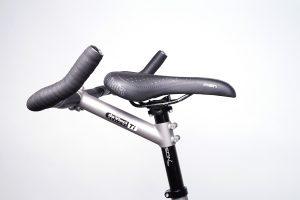Closeup of da Vinci Designs Titanium Stoker stem and Selle Italia saddle