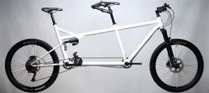 da Vinci Symbiosis Full Suspension tandem bike white with MRP forks